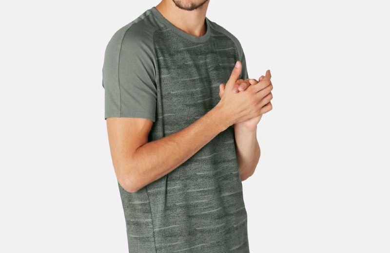 Camiseta+Manga+Corta+Fitness+hombre+520+Regular+algod+n+caqui+estampado