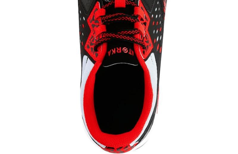 Zapatillas+de+balonmano+adulto+H500+negro+rojo
