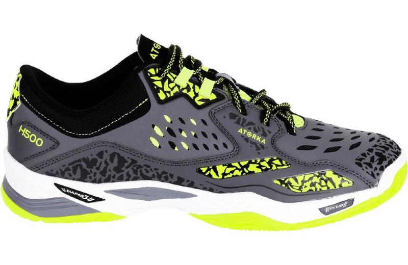 Zapatillas+de+balonmano+H500+adulto+gris+amarillo