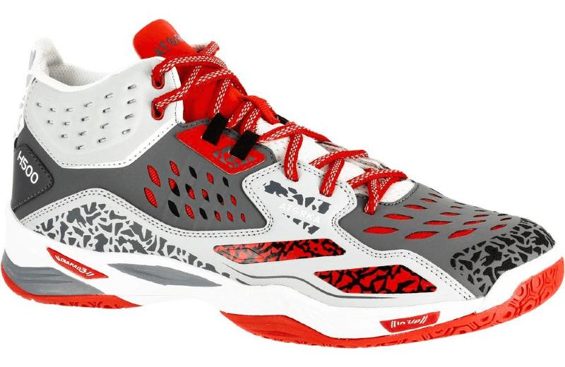 Zapatillas+de+balonmano+mid+adulto+H500+gris+rojo
