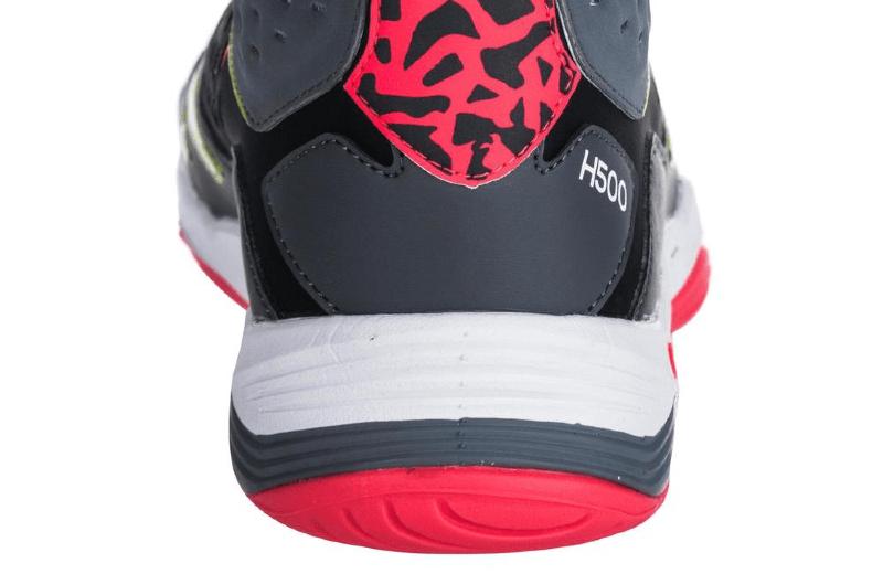 Zapatillas+de+balonmano+mid+adulto+H500+negro+amarillo+rosa