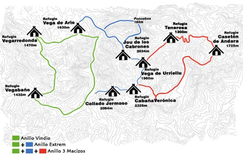 mapa itinerario Anillo de Picos