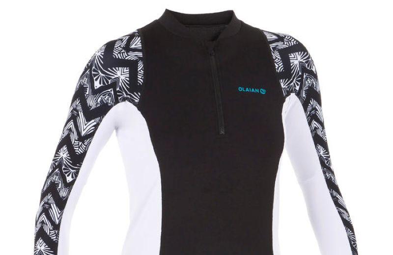 Camiseta anti-UV surf top 500 manga larga mujer blanco estampado