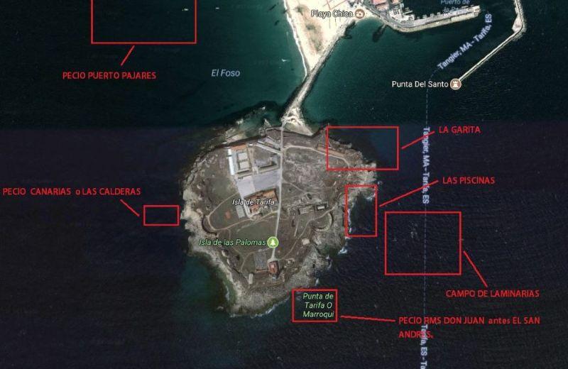 mapa puntos buceo Tarifa