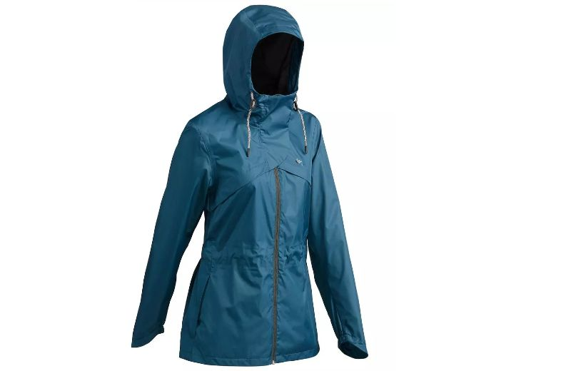 Chaqueta+Impermeable+de+Monta+a+y+Trekking+Quechua+NH500+de+Mujer+Azul+Verde