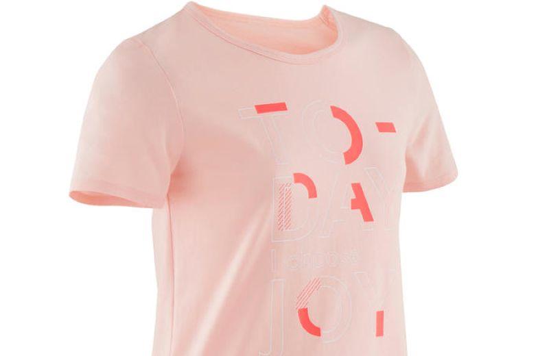 camiseta básica rosa niña decathlon