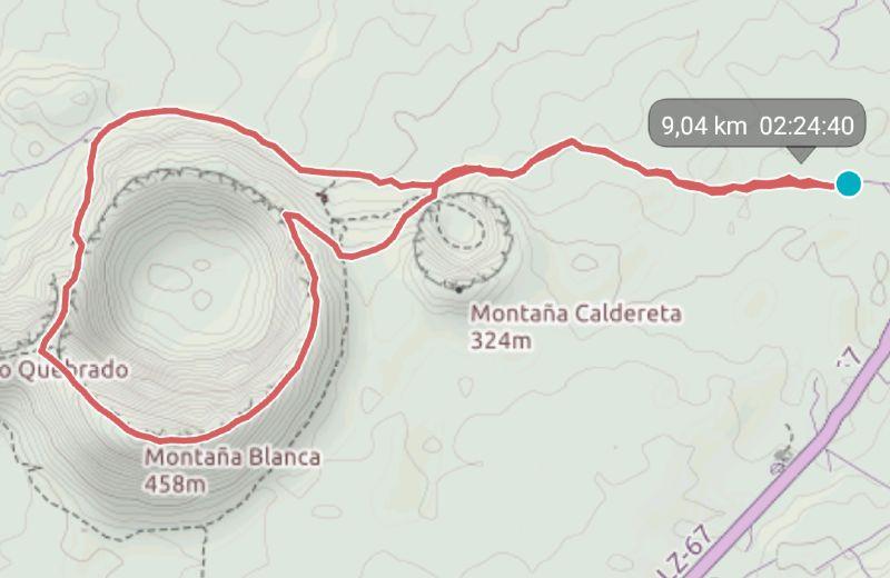 mapa ruta caldera blanca Lanzarote