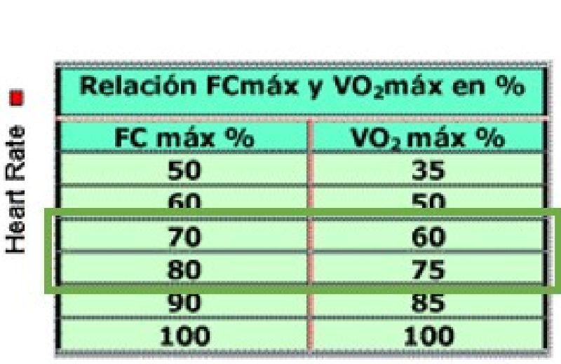 Ilustración 2. Relación entre FC máx. y VO2 máx. Burke (1998)