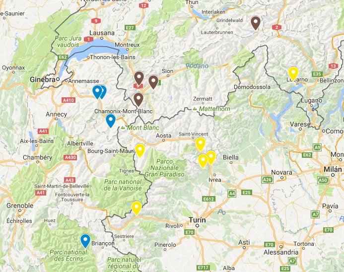 mapa de escalada en los alpes franceses