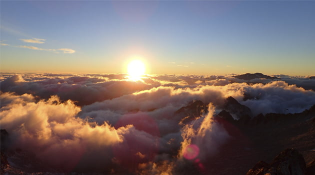 puesta de sol pirineos