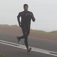 Mallas largas de running de hombre Kalenji Kiprun Warm negra y azul
